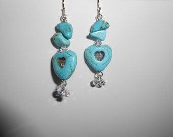 Turquoise Heart Pierced Earrings