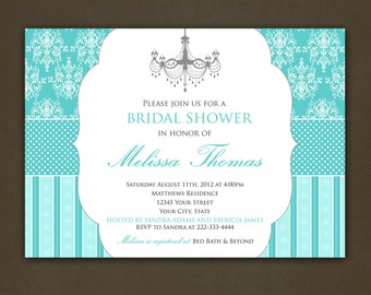 Teal Aqua Bridal Shower Damask Chandelier Invitations Printable