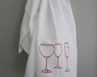 Wine Glass screen printed kitchen towel