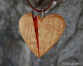 Cut Through the Heart- Wounded Heart Wooden Pendant Necklace in Reclaimed Birdseye Maple and Padauk Wood