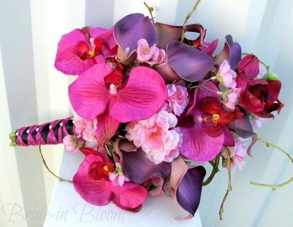 Brides bouquet Wedding bouquet hot pink orchid real touch plum calla lily cherry blossoms