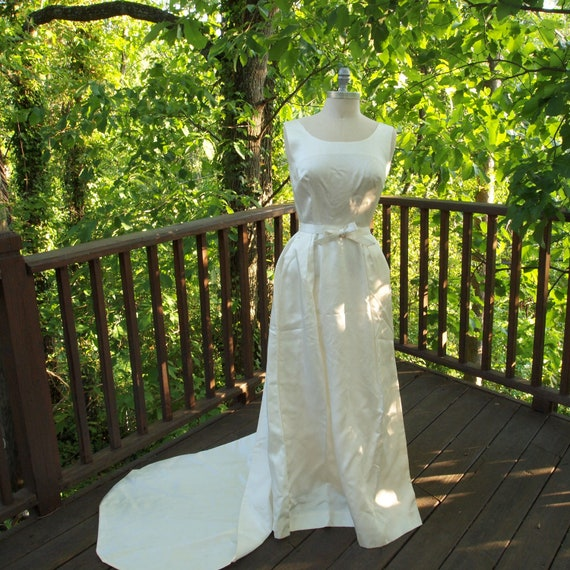 Reserved for Cristina-Vintage Wedding Dress Ivory Satin 1960's Wedding Gown with Detachable Train