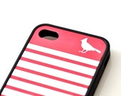 Cardinal Bird iPhone Case - Stripes Available in 13 Colors - DobleEle