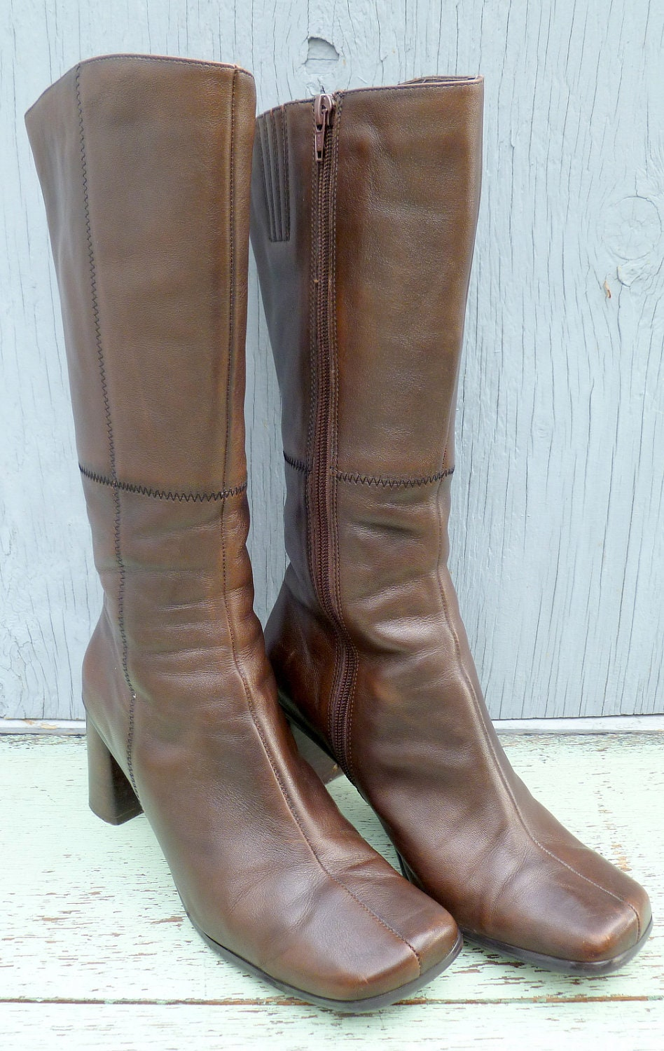 brown leather high heel vintage boots