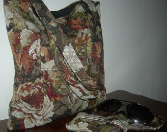 Floral Tapestry Organizer Tote with Matching Eye Glass/Cell Phone Case and Pocket Tissue Holder