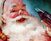 vintage original 1955 Coca Cola National Geographic magazine ad featuring classic Santa Claus holding a bottle of Coke