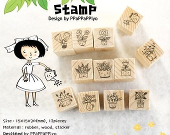 SALE free ship Anime Flowers Wooden Rubber Stamps 12 pieces Korean stationery