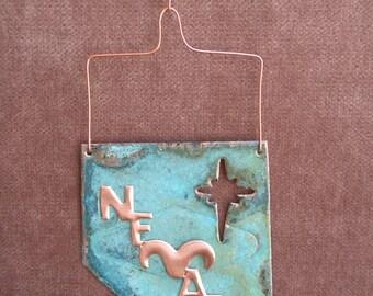 NEVADA STATE Shaped Copper Verdigris Ornament - Handcrafted in The Copper State (Arizona USA)