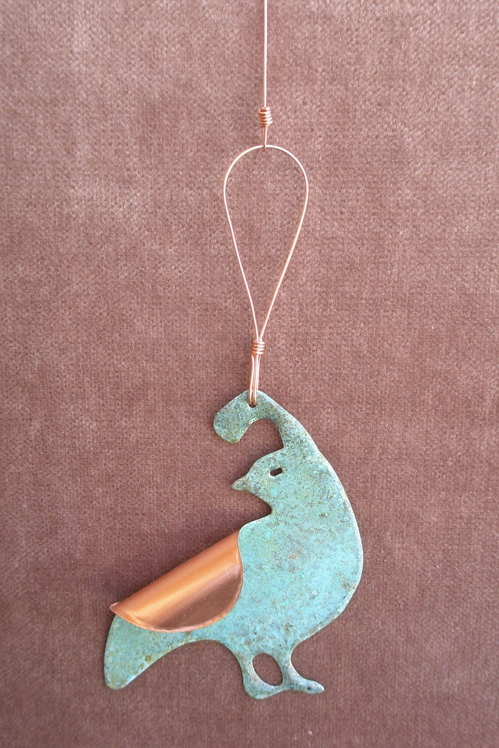 QUAIL Copper Verdigris Ornament - Handcrafted in The Copper State (Arizona USA)