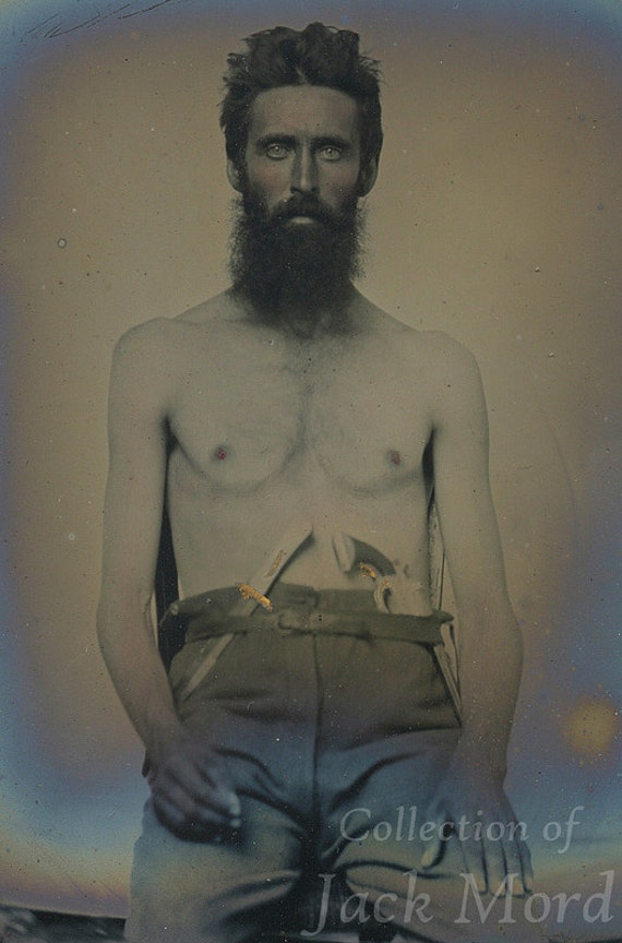 RESERVED / Amazing 1860s Photo of a Shirtless Double Armed Man with Pistol and Knife