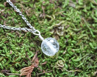 Little Crackle Quartz Crystal Ball Necklace