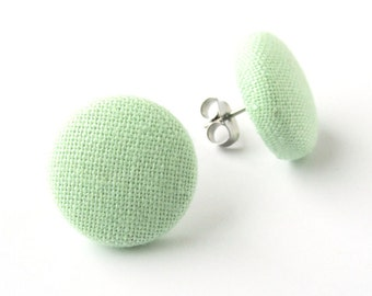 Pastel green earrings - mint button earrings - simple stud earrings - small fabric earrings tiny