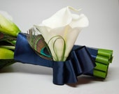 Peacock Wedding Corsage - Ivory Calla Lily and Peacock Wristlet Corsage