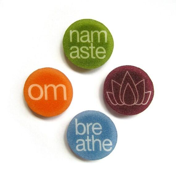 yoga magnets - colorful set of 4 - shrinky dink art