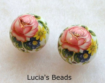 NEW SIZE Gorgeous Pair Pink Rose on White Japanese Tensha Beads 14 MM