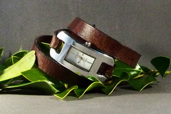 Wrap Around Leather Watch, Silver Watch, Womens Watch, Leather Bracelet Watch, Gifts for Her, Vintage Brown Watch, Leather Cuff Watch