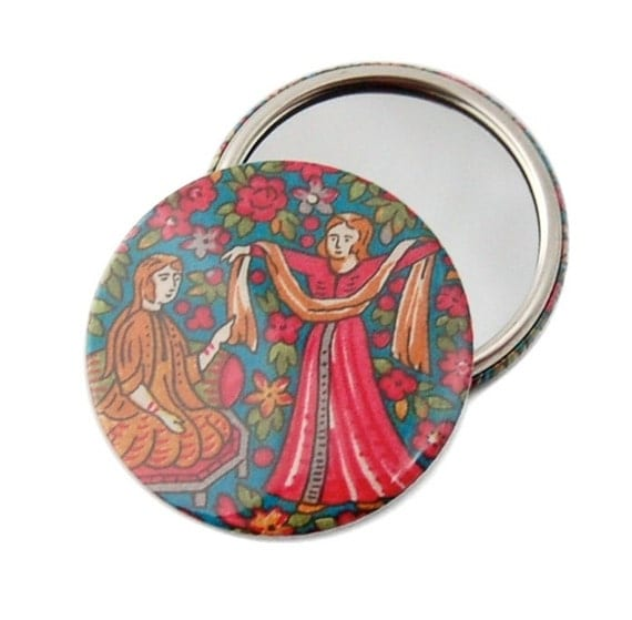 SALE - Liberty Print Pocket Mirror - Dancing Ladies D, Liberty Print