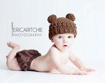Baby Boy or Girl Hat, 3 to 6 Months Baby Teddy Bear Hat, Crochet Flapper Hat, Chocolate Brown with Pom Pom Ears. Great for Photo Props. Gift