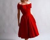 1950s party dress / 50s red velvet off the shoulder dress / Crimson Hearts