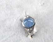 Blue Sky Sapphire Ring, Sterling Silver Ring, Small Engagament Ring