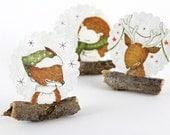 30 Christmas Stickers - Fox, Reindeer and Hedgehog