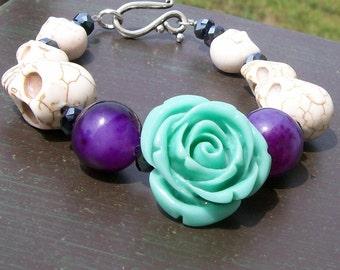 Blue Rose and Sugar Skull Bracelet Halloween jewelry