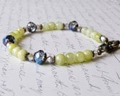 Afghan Jade Bracelet, Green Bracelet, Stone Bracelet, Shabby Chic Jewelry, Swarovski Crystals