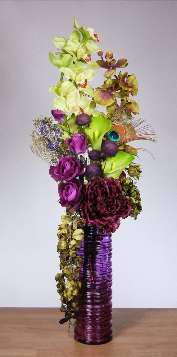 Tall skinny lime green and purple orchid floral by