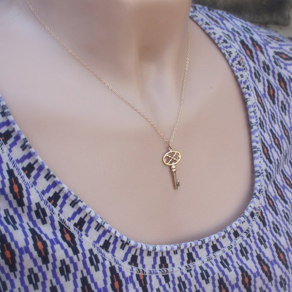 Gothic Key Necklace - Gothic Key Pendant . Womens Jewelry . 14K Gold-Filled Chain