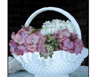 Vintage Fenton Hobnail Milk Glass Handled Bowl/ Wedding Centerpiece