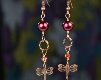 On Sale, Whimsical Dragonfly Burgundy Pearl Drop Earrings