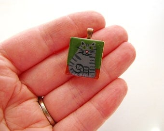 Grey Tabby Cat Painted Scrabble Tile Necklace - Fat Cat CLEARANCE SALE