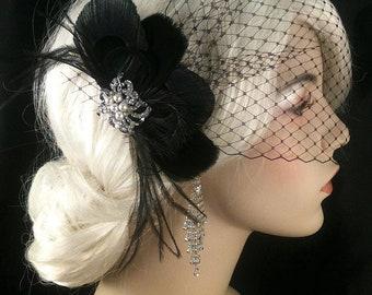 Black Peacock Hair Clip, Bridal Fascinator, Wedding Headpiece, Feather Fascinator, Gatsby Wedding, Great Gatsby Headpiece