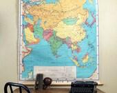 Vintage School Wall Map : Denoyer Geppert Asia