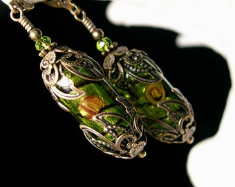 Lime Green Dangle Earrings, Victorian Crystal Drop, Antiqued Bronze Filigree, Titanic Temptations Vintage Steampunk Bridal Style Jewelry