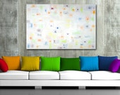 """very large original abstract painting - acrylic on canvas - modern art - large original painting 36"""" x 48"""" - white - colorful"""
