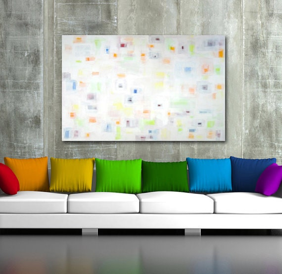 "very large original abstract painting - acrylic on canvas - modern art - large original painting 36"" x 48"" - white - colorful"