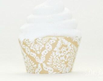 Tan & White Vintage Damask Cupcake Wraps - Standard Size - Set of 24