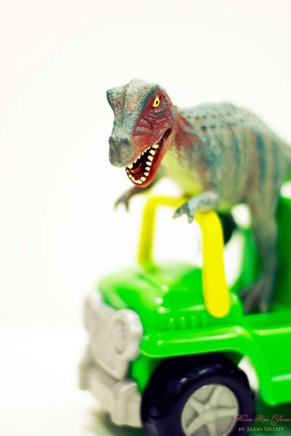 Tyrannosaurus Rex Jeepin'- Fine Art Photography print 5x7 by Alana Gillett- Dinosaur Jeep Wheels Boys Girls Kids Room Wall Art Home Decor