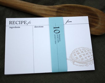 10 Pie RECIPE CARDS, set of 10. modern design (Letterpress printed, 4x6 inches) perfect gift, organize recipes