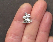12 Bunny Charms Antique  Silver Tone Just Adorable - SC30