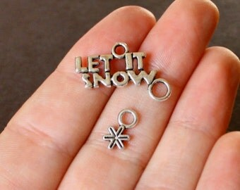 4 Let it Snow Charms Antique  Silver Tone with Dangling Snowflake - SC305