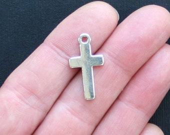 10 Solid Cross Charms Antique  Silver Tone - SC1375