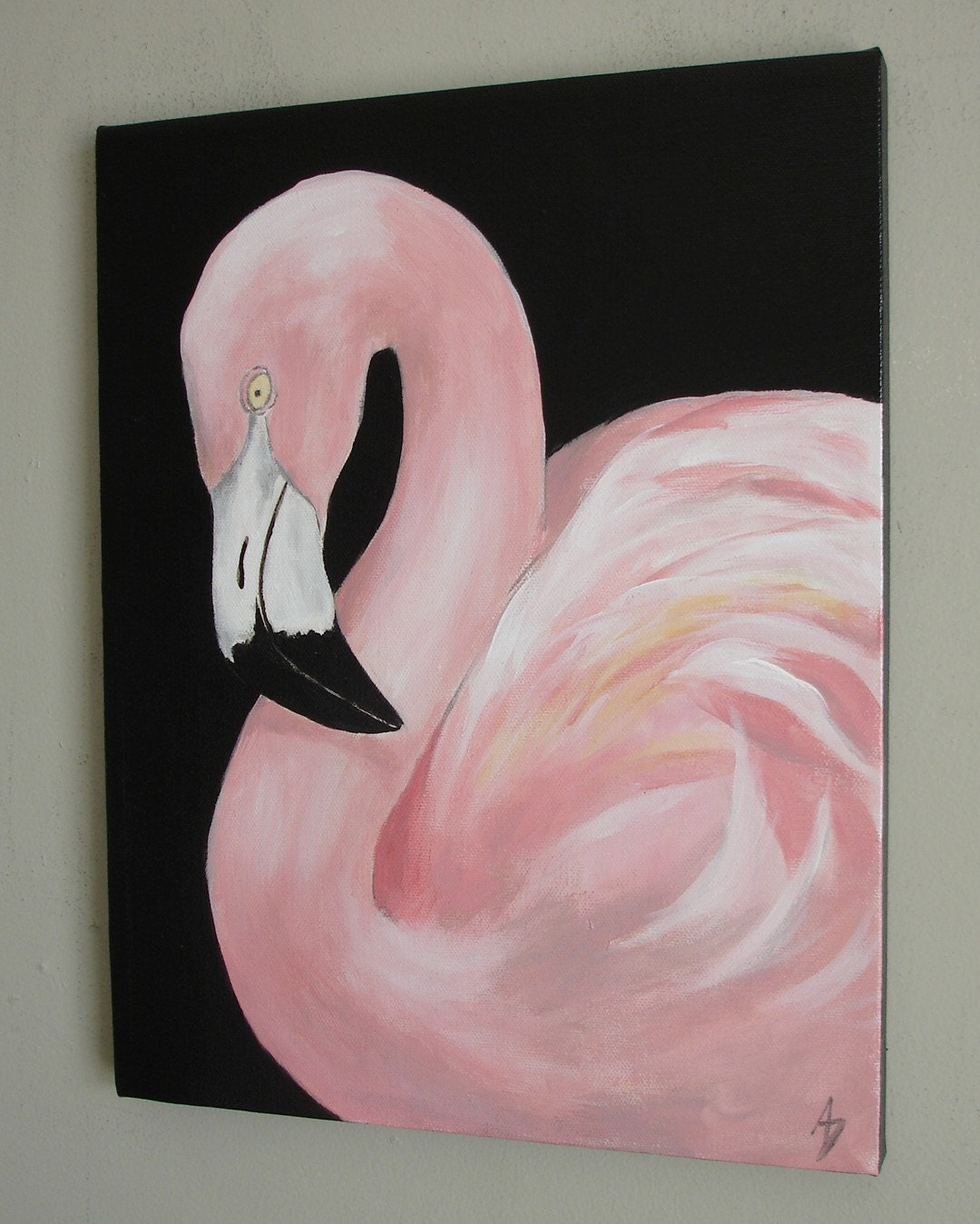 Pink flamingo wall art canvas painting tropical bird by for What paint for canvas