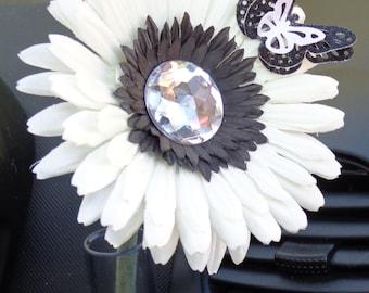 VW Beetle Flower -White and Black  Diamond Bling