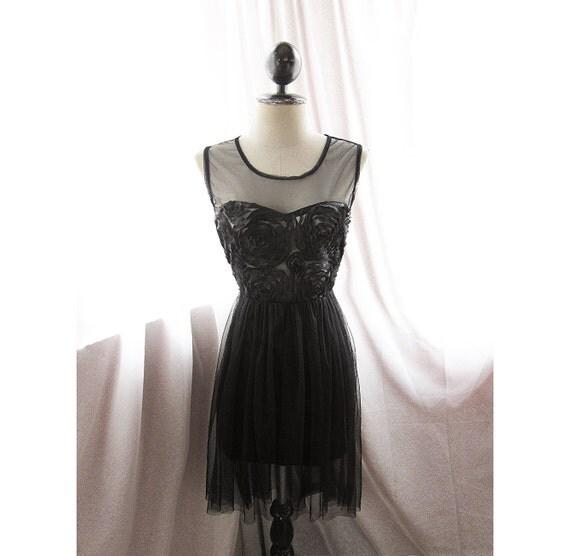 HALF PRICE CHRISTMAS Sale Marie Antoinette Ethereal Rose Jane Austen Rosette Fae Alice in Wonderland Ballerina Parisian Boudoir Sheer Dress