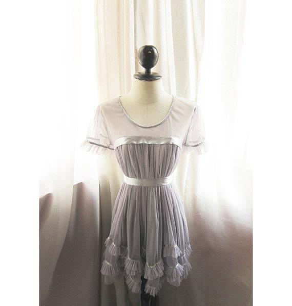 Soft Mauve Grayish Lavender Purple Miss Havisham Alice in Wonderland Marie Antoinette Secret Garden Long Tunic Taffeta Dress