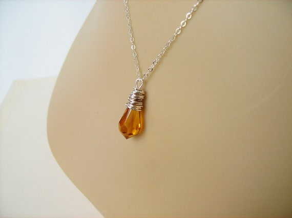 Golden Topaz- Sterling SIilver- Swarovski Teardrop Crystal Drop Necklace, Sterling Silver Wire Wrapped Pendant