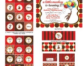 DIY -  Printable: Curious George Birthday Party Set-  14 items (invitation, party circles, water bottle labels, banner and more)