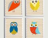 Nursery Owls Boy Kids Wall Art Girl Woodland Forest  Birds Wood grain set of 4 each 11x14